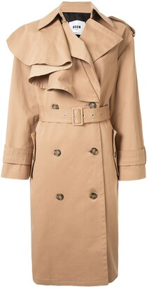MSGM Ruffled Panel Trench Coat
