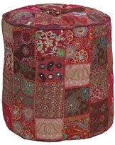 Element 16-inch Round Multicolored Patchwork Pouf