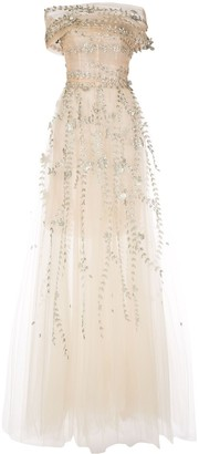 Oscar de la Renta Leaf Appliques Evening Gown