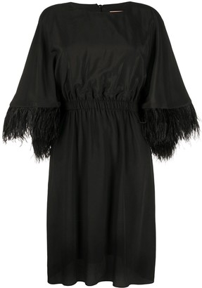 Yves Salomon Feathered Cuff Midi Dress