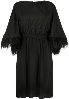Yves Salomon Feathered Cuff Midi Dress
