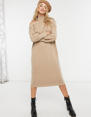 ASOS DESIGN super soft midi sweater dress with cutout shoulder in camel