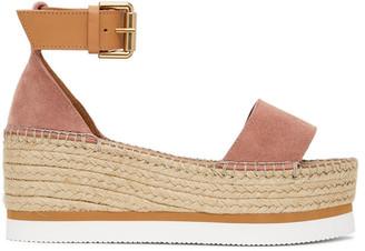 See by Chloe Pink Glyn Flat Platform Sandals