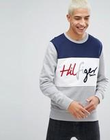 Tommy Hilfiger Crew Sweatshirt Colorblock Logo In Grey Marl