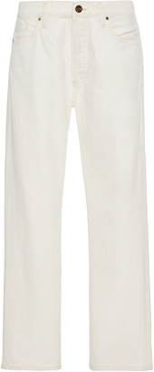 Gold Sign Benefit Stretch High-Rise Straight-Leg Jeans