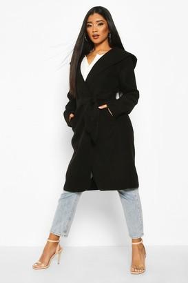 boohoo Hooded Belted Shawl Coat