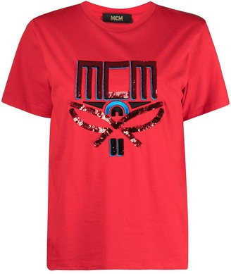 MCM sequin-logo T-shirt