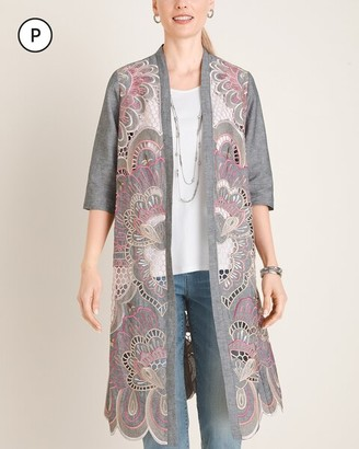Chico's Petite Embroidered Scalloped-Hem Kimono Jacket