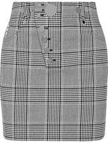 Alexander Wang Studded Checked Woven Mini Skirt - Black