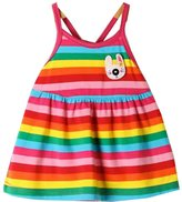 Z by Yoon Baby Girls Multi Color Striped Pattern Criss Cross Strap Back Preemie Dress