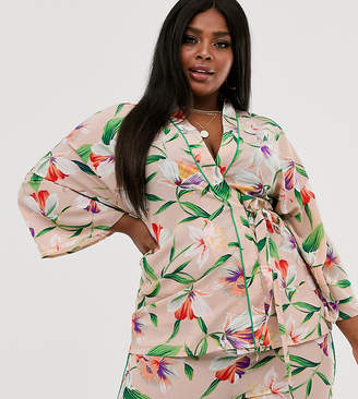 Liquorish Curve Liquorish Plus wrap blouse with contrast piping in floral two-piece-Multi