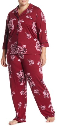 Joe Fresh Floral 3/4 Length Sleeve Top & Pants Pajama 2-Piece Set (Plus Size)