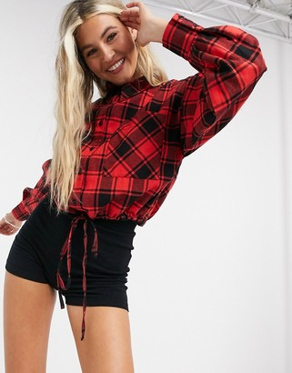 ASOS DESIGN cropped check shirt with drawstring hem in red and black