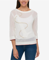 Tommy Hilfiger Cotton Anchor-Embroidered Sweater, Created for Macy's