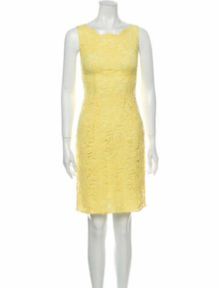 Emilio Pucci Lace Pattern Knee-Length Dress Yellow