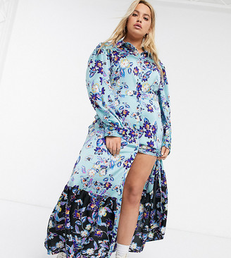 Liquorish Plus long sleeve maxi dress with contrast hem in teal floral