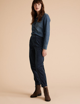 Marks and Spencer Corduroy Tapered Ankle Grazer Trousers