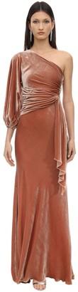 Maria Lucia Hohan Amaris Draped One Shoulder Velvet Dress