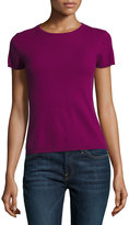 Neiman Marcus Cashmere Short-Sleeve Pullover Top, Pink