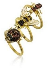 Noir Stackable Cubic Zirconia Bug Ring Set