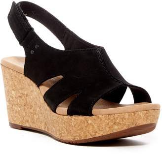 Clarks Annadel Bari Leather Platform Wedge Sandal