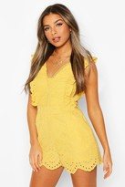 boohoo Petite Frill Edge Broderie Playsuit