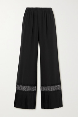 SLEEPING WITH JACQUES The Osiris Lace-trimmed Plisse-silk Crepe De Chine Pajama Pants - Black