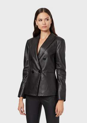 Emporio Armani Double-Breasted Jacket In Partially Plant-Tanned Lambskin Nappa Leather