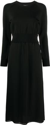Theory Long-Sleeve Silk Midi Dress