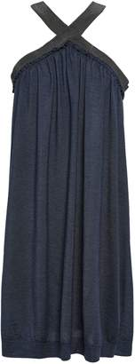 Brunello Cucinelli Bead-embellished Cashmere And Silk-blend Halterneck Dress