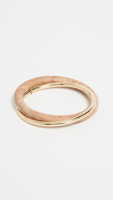 Soko Brass and Teak Interlocking Bangle Bracelets