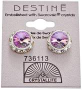 Crystallite Destine Violet Rhinestone Rivoli Earrings 12mm