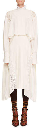 Chloé Mock-Neck Long-Sleeve Tiered Button-Back Long Dress w/ Lace Panels