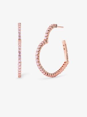 Michael Kors 14K Rose Gold-Plated Sterling Silver Pave Oversized Heart Hoop Earrings