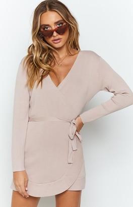 Beginning Boutique Kehlani Knit Wrap Dress Blush