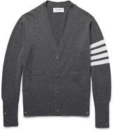 Thom Browne Slim-fit Striped Cashmere Cardigan - Dark gray