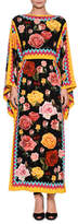 Dolce & Gabbana Long-Sleeve Floral-Print Silk Ankle-Length Dress