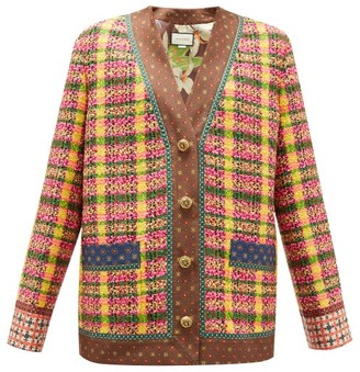 Gucci Checked Wool-blend Tweed Cardigan - Womens - Yellow Multi