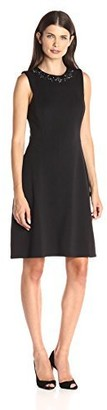 Maggy London Women's Scuba Fit and Flare with Embellishment