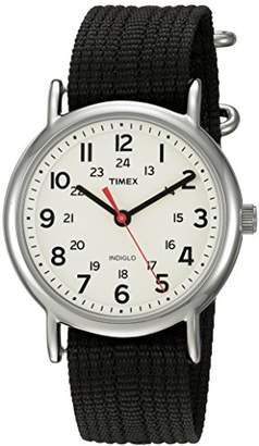 Timex Unisex TWC027600 Weekender 38mm Cream/Black Nylon Slip-Thru Strap Watch