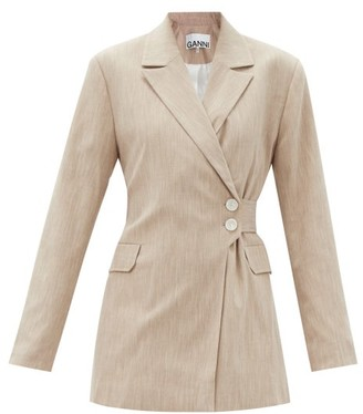 Ganni Double-breasted Wrap-front Canvas Jacket - Light Beige