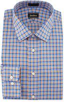Neiman Marcus Classic-Fit Non-Iron Check Dress Shirt, Orange/Blue