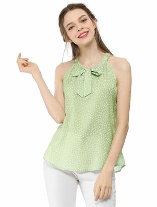 Allegra K Women's Halter Tank Top Cute Tie Neck Polka Dots Sleeveless Vest Blouse Green M UK 12
