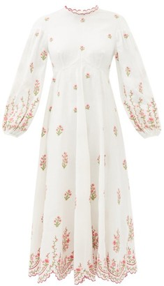 Zimmermann Poppy Floral-embroidered Linen-blend Midi Dress - White Multi