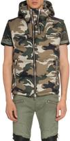 Balmain Men's Hooded Camo Zip-Front Vest