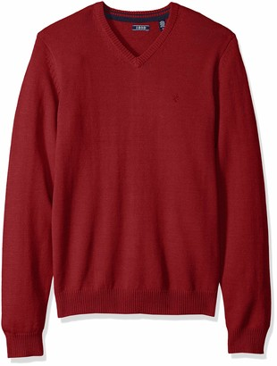 Izod Men's Premium Essentials Solid V-Neck 12 Gauge Sweater Red 030 Large