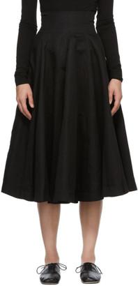Loewe Black Linen Flared Skirt