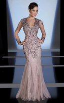 MNM Couture - Embellished V-neck Mermaid Gown 0437BW