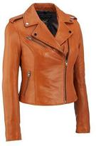 Black Rivet Womens Asymmetric Leather Cycle Jacket W/ Notch Collar