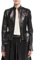 Elie Saab Zip-Front Belted Leather Peplum Jacket with Stud Details